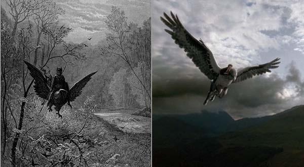 A gauche, l'hippogriffe de Doré - A droite, la scène du film Harry Potter (Montage © Slate)