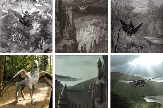 Ligne du dessus : dessins de Gustave Doré - ligne du dessous : scène du film Harry Potter (Montage © Paperblog)