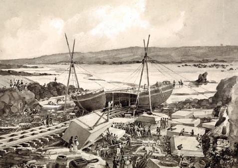 « Chargement des blocs de granite dans le Luxor ». Anse Styvel, Aber-Ildut (Finistère). 1835 Lavis sur papier signé ALC. © Collection particulière/ musée national de la Marine/A. Fux