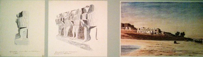 Dessins et aquarelle de Léon de Joannis 1831-1832 (A gauche : détails du socle de l'obélisque - A droite : maison de l'expédition Louxor).