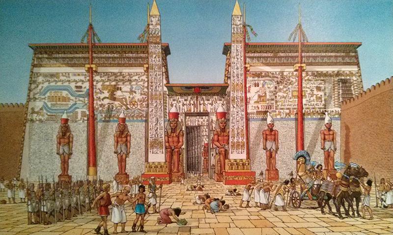 L'entrée du temple de Louxor sous Ramsès II. - Les voyages d'Alix : L'Egypte - Tome 1 (auteur : Rafaël Moralès-Jacques Martins - Casterman 2000).