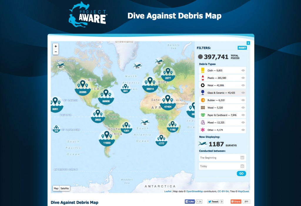 Dive against debris map