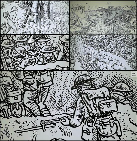 Détails de la fresque de la bataille de la somme - Gare Montparnasse - par Joe Sacco