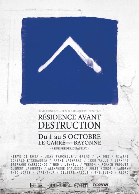 """Affiche de l'exposition """"Résidence avant destruction"""" au Carré Bonnat"""