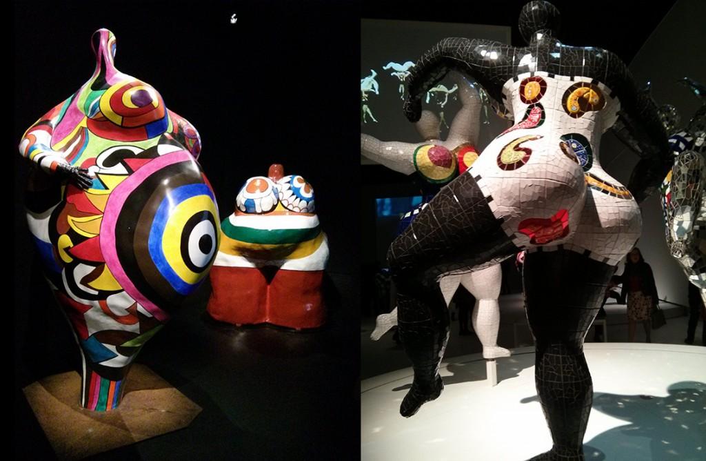 les Nanas de Niki De St Phalle (A gauche, support en papier maché, à droite, support en céramique).