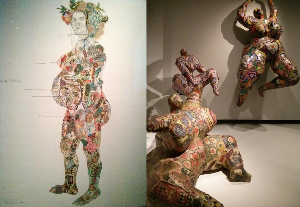 """A gauche, """"Portrait de Clarice Rivers enceinte"""" (1964) - A droite """"Nana assise (1965)"""
