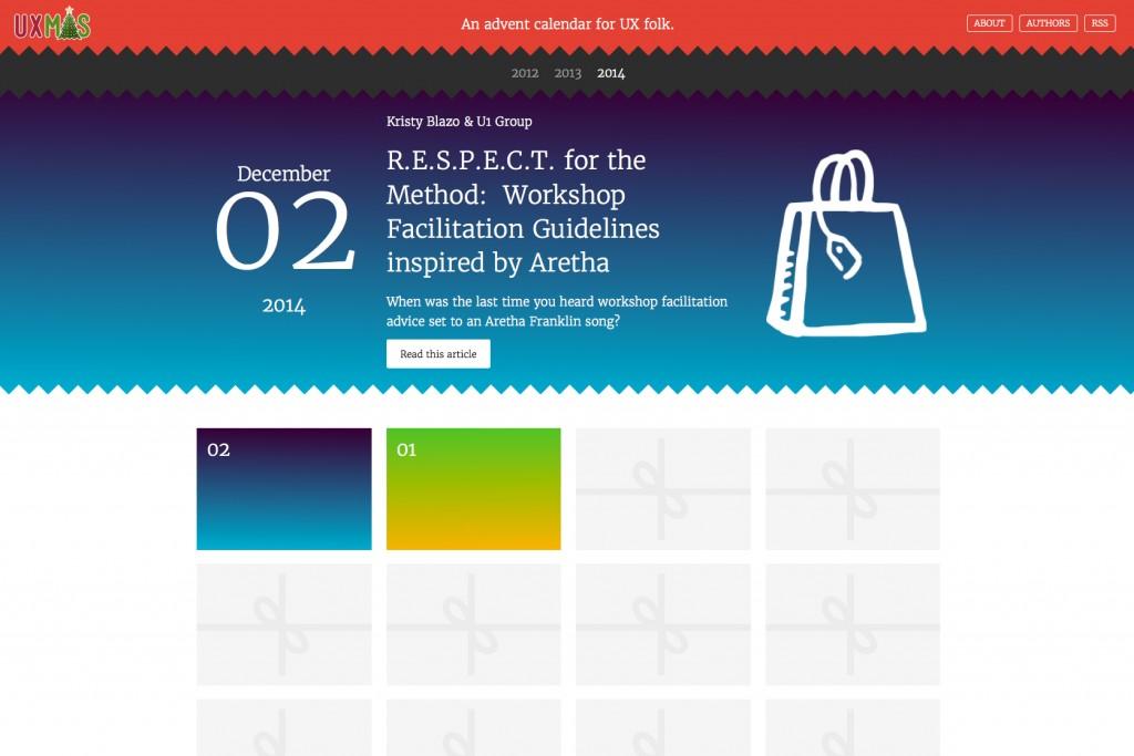 UXmas, le calendrier de l'avent pour les UX designer - 2014