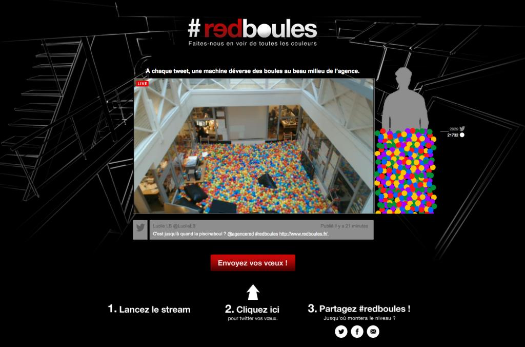 Interface de vœux de l'agence Redboules avec la vidéo en live.