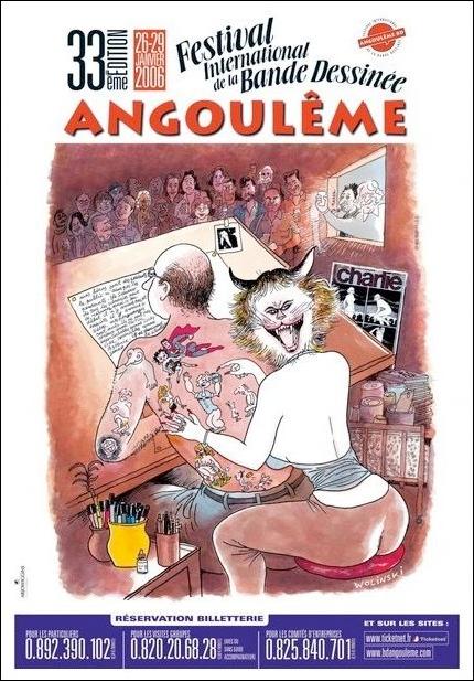 Affiche du festival de la BD d'Angoulême 2006 par Wolinski