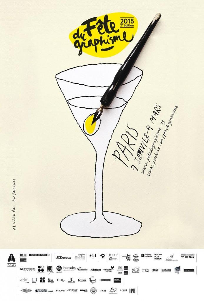 Affiche de la fête du graphisme 2015 par l'univers du graphiste mexicain Alejandro Magallanes