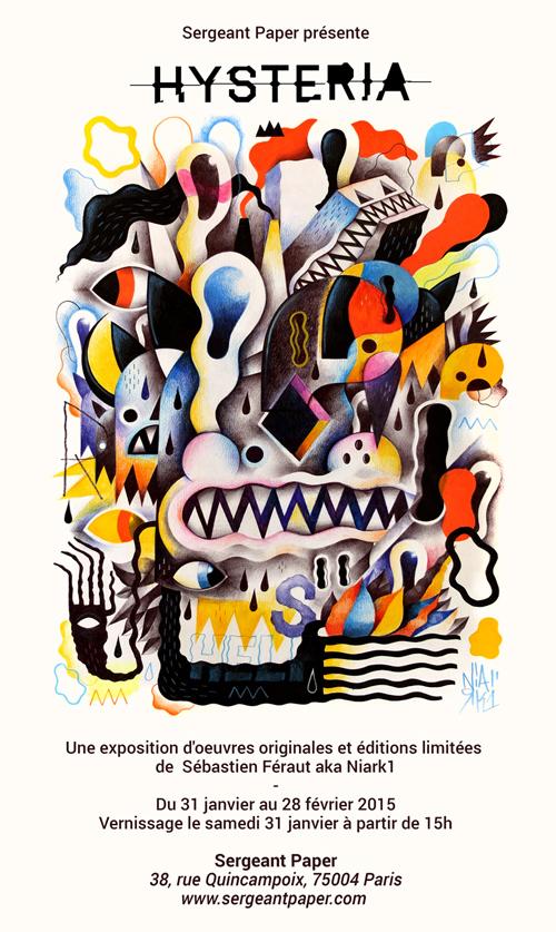 Affiche de l'exposition Hysteria à la galerie Sergent Paper