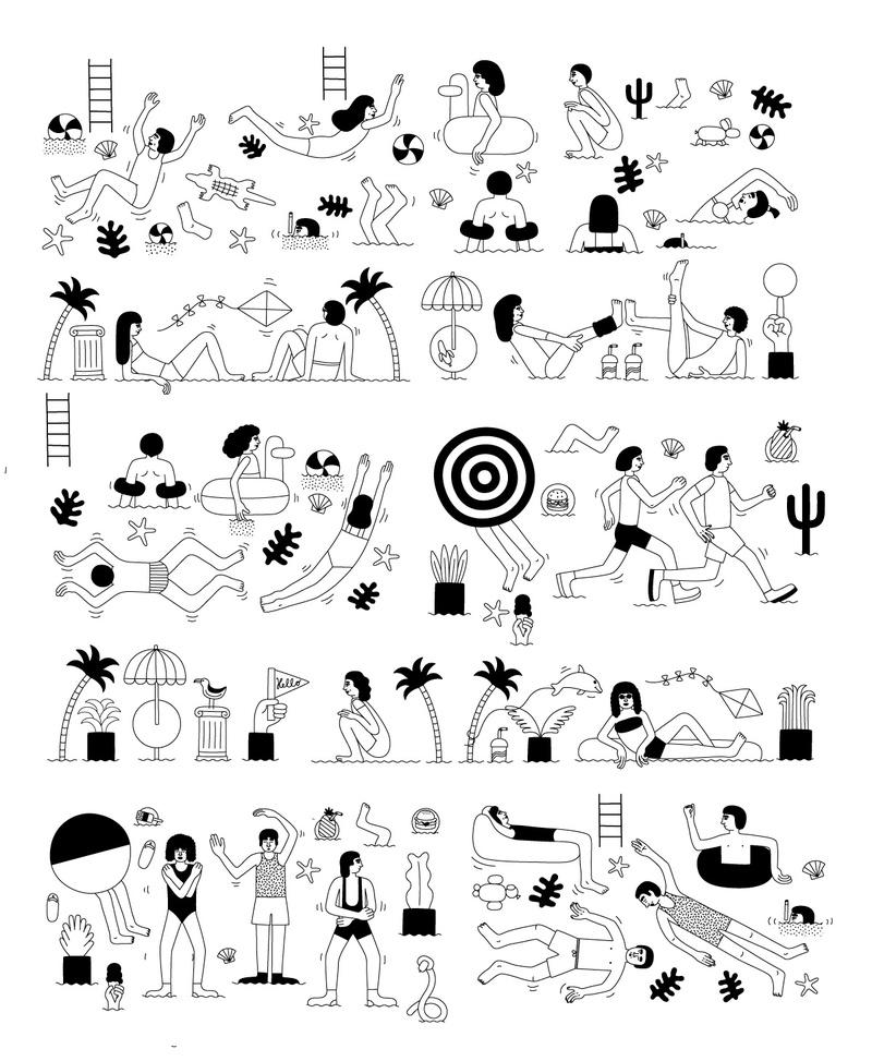 Détail des dessins de la création de Martina Paukova pour le van Pull&Bear