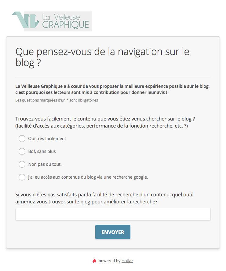 Questionnaire utilisateur Hotjar