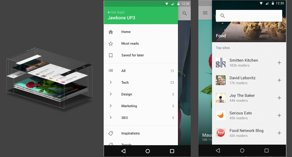 L'application Feedly en Material design - Fevrier 2015