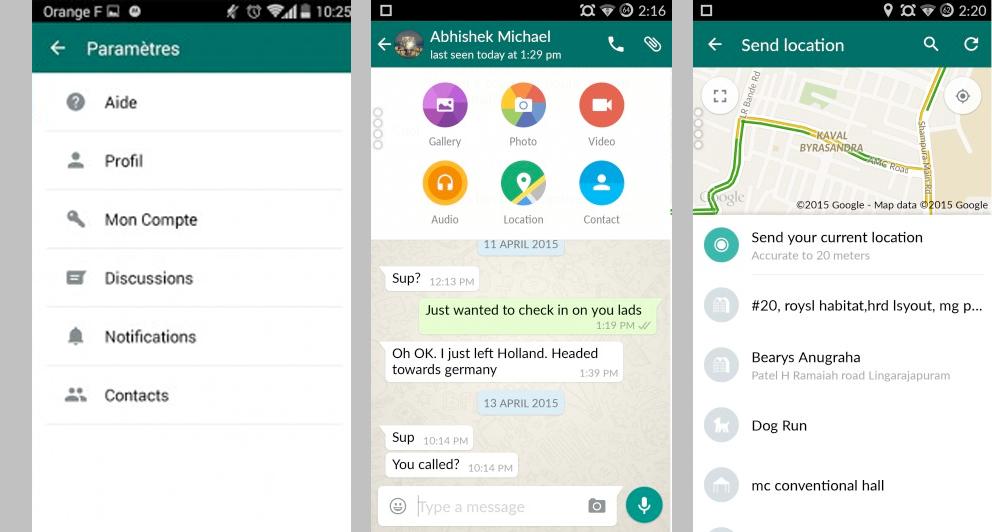 WhatsApp relloké en avril 2015 façon Material Design