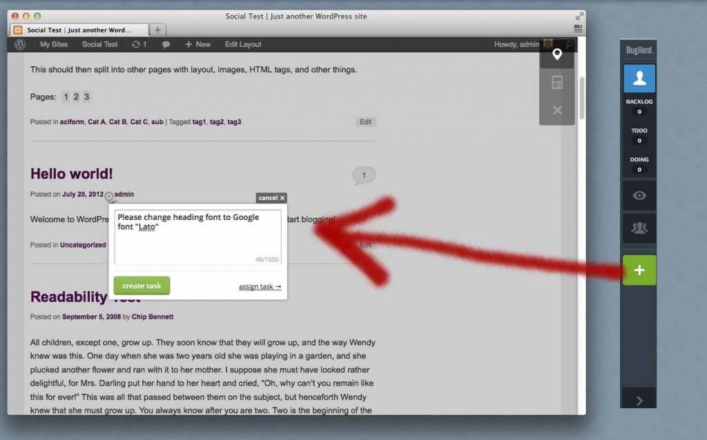 Exemple de l'ajout d'un bug sur Bugherd (copie d'écran © WP speedster)