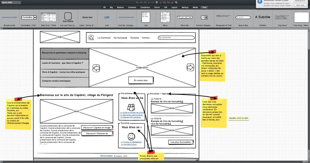 Interface de Balsamiq (exemple d'une page)