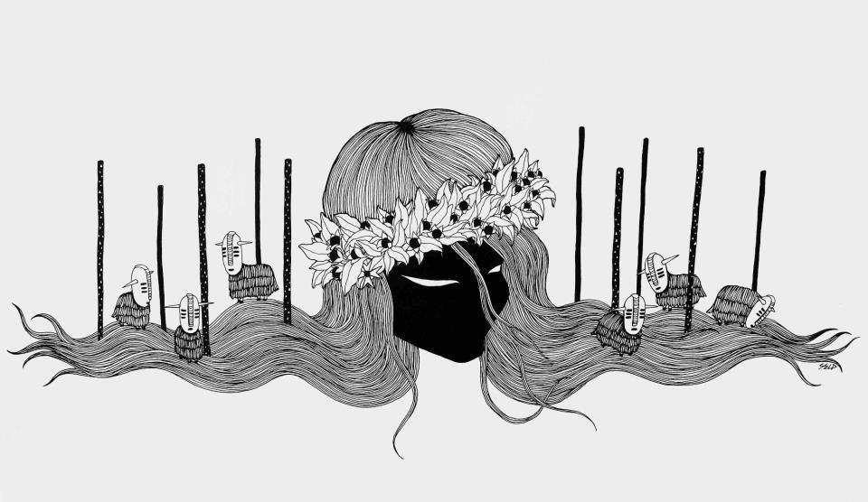 """Hypnose"" - encre et gouache - © Selp"