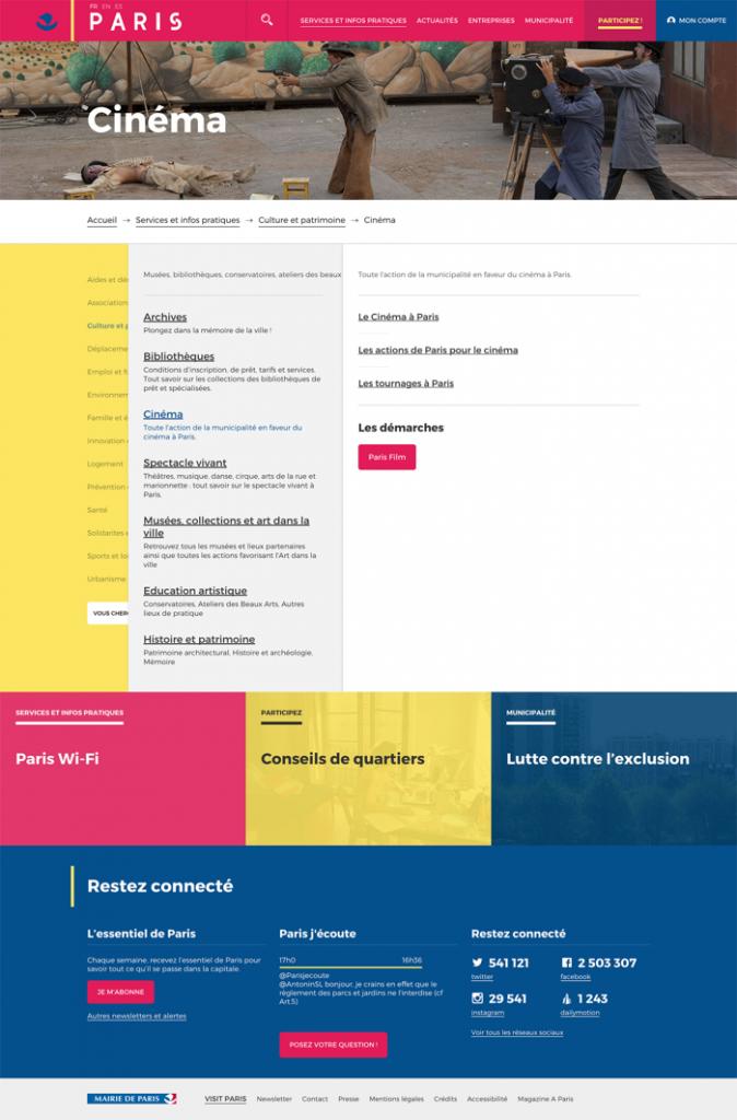 Exemple de la page Cinéma : très coloré, très flat design - Refonte du site de la Mairie de Paris
