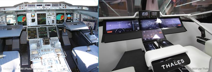 Cockpit d'un A380 versus le cockpit Avionics 2020 mis au point par Thales