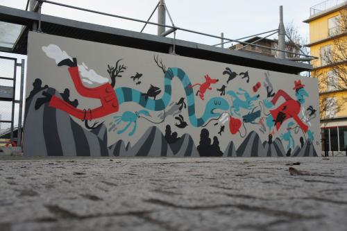 Fresque de Mister Pee pour le M.U.R à Bordeaux