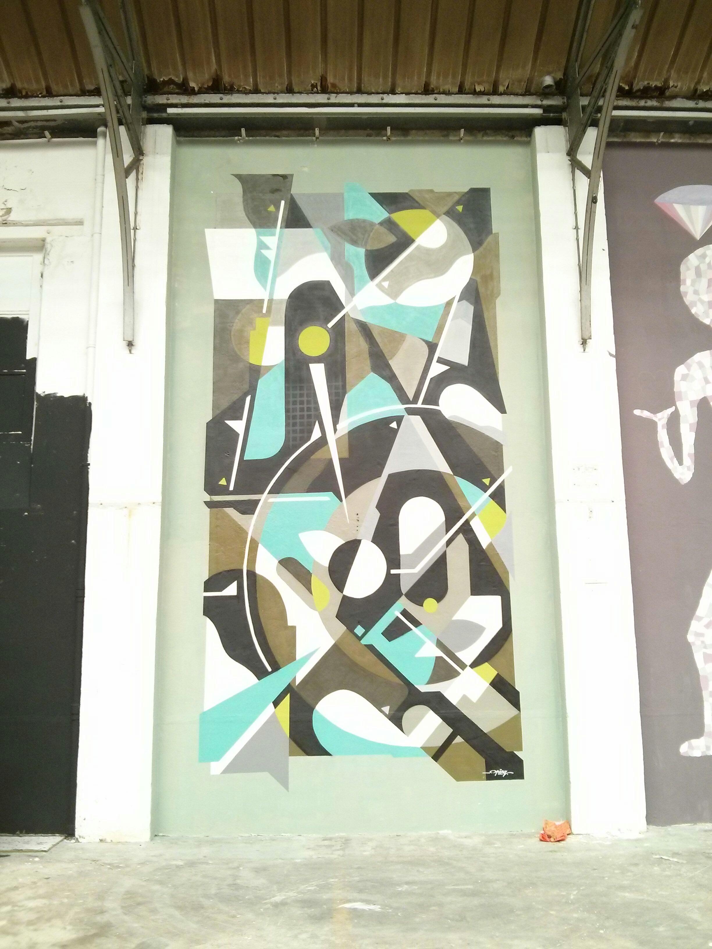 Peinture murale de Grems ayant servi de support publicitaire pour une marque de voiture. Cet espace accueillera un pop-up store. Crédit Photo : © La Veilleuse Graphique