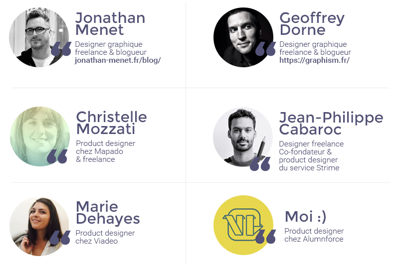 Jonathan Menet, Geoffrey Dorne, Christelle Mozzati, Marie Dehayes et Jean-Philippe Cabaroc ont répondu à mon interview