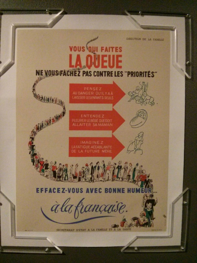 Affiche traitant des queues lors du rationnement - collection Vincent Caliot
