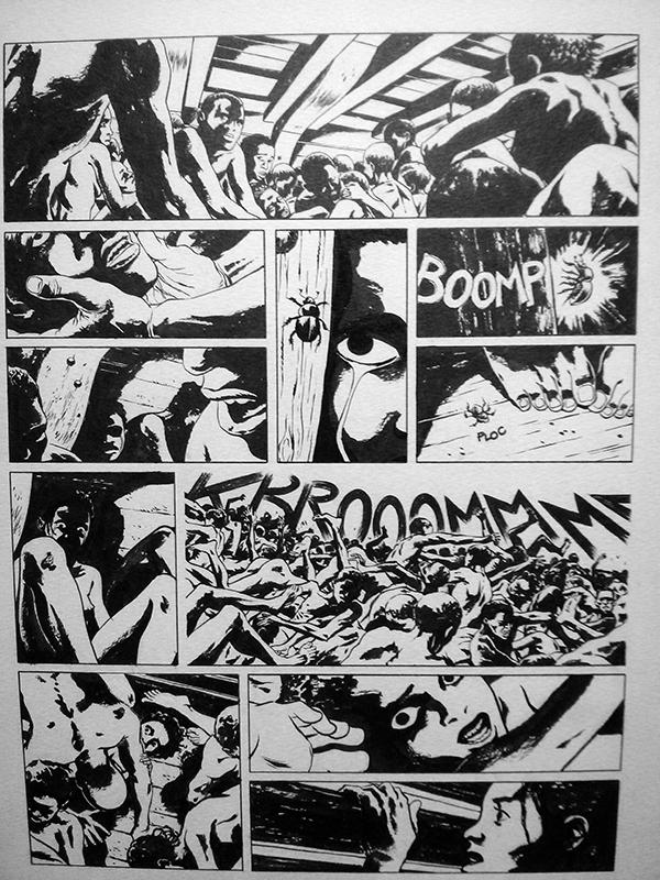 Planche en noir et blanc extraite de la bande dessinée de Sylvain Savoia