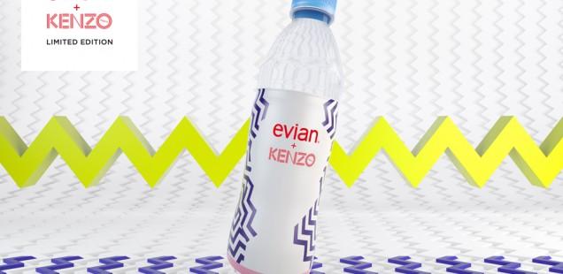 Graphisme de la bouteille Evian 2014 - partenariat Kenzo